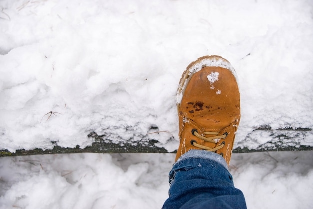 Top view of shoe in fresh snow.