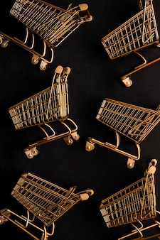 Top view shopping cart arrangement
