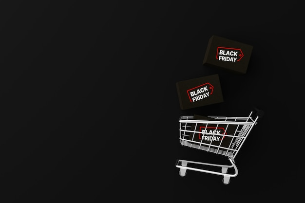 Top view of shopping cart and package box on black background