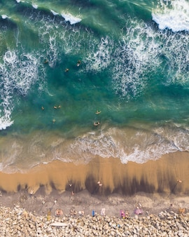 Top view shot of people swimming and sitting in varkala beach