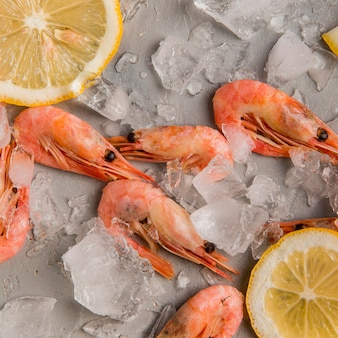 Top view shrimp on ice