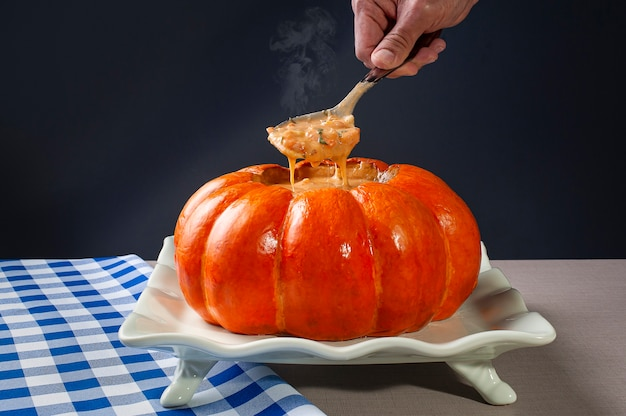 Top view shrimp in the pumpkin dish