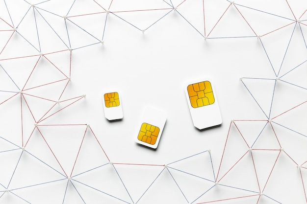 Top view of sim cards
