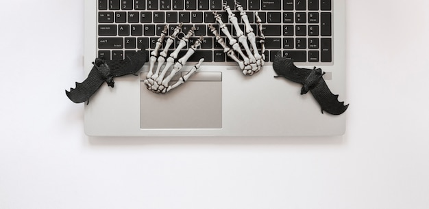 Вид сверху скелет руки на ноутбуке с летучими мышами