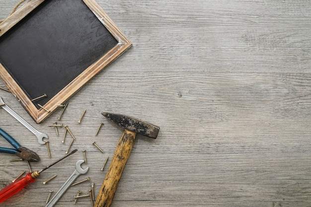Top view of slate and tools for father's day