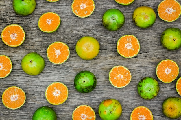 Top view of slice oranges fruit on the wooden board