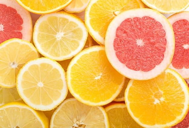 上面図スライスレモン、オレンジ、グレープフルーツ