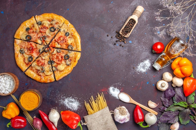 Top view sliced mushroom pizza delicious dough with fresh vegetables on dark surface dough meal food italian bake