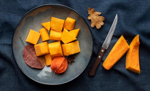 Top view slices of pumpkin