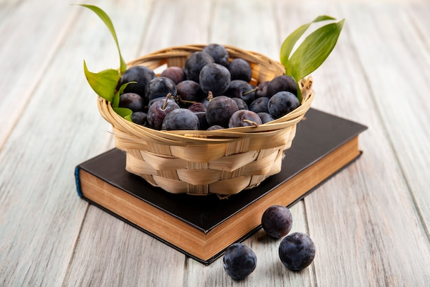 Top view of the small bitter wild bluish-black sloes on a bucket with green leaves on a grey wooden background