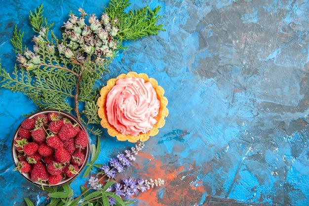 Vista dall'alto della piccola torta con crema pasticcera rosa ciotola con lamponi sulla superficie blu