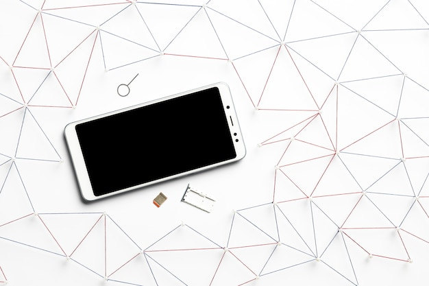 Top view of smartphone with sim card
