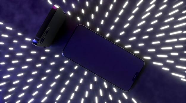Смартфоны вид сверху с неоновым светом