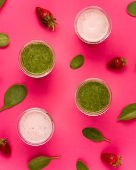 Top view smoothie healthy lifestyle