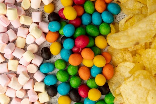 Top view snacks arrangement