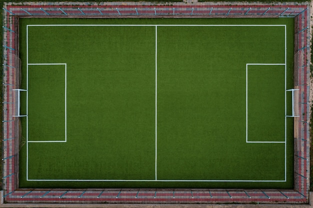 Top view soccer field
