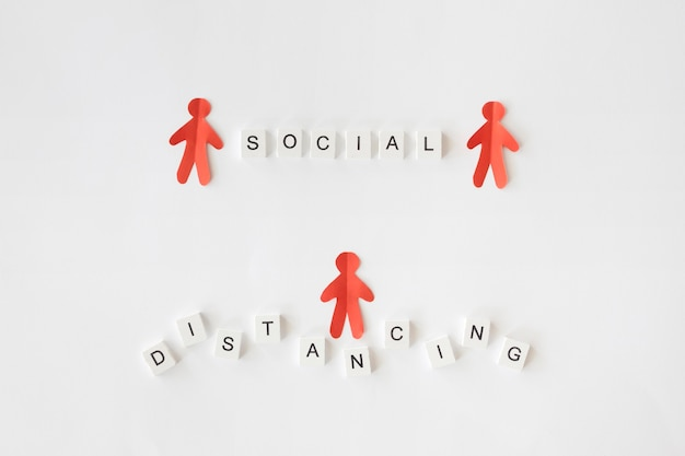 Top view of social distancing concept