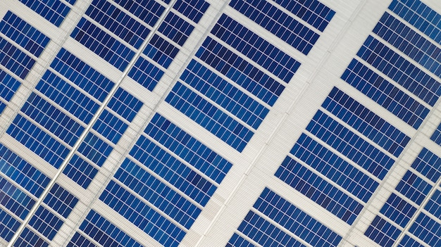 The top view of the solar cells on the roof taken with the drones
