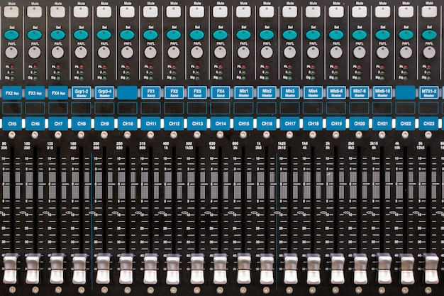 Top view of  sound music mixer control panel in the event hall