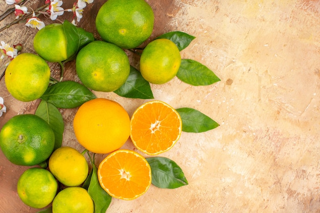 Top view sour green tangerines on light background