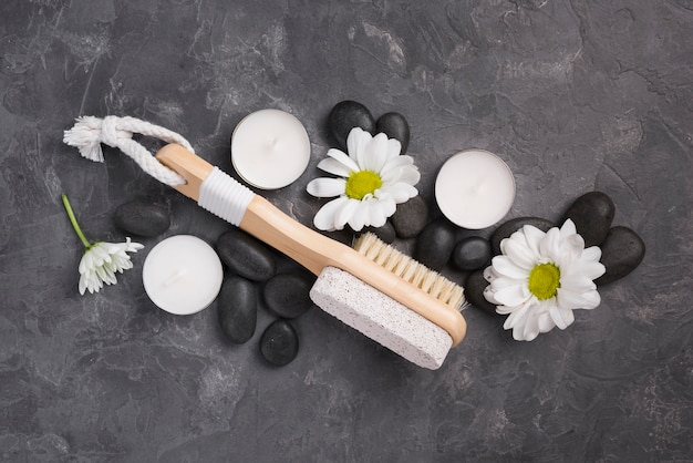 Top view spa brush with aromatherapy stones
