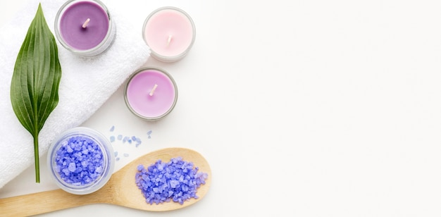 Top view spa candles with copy space