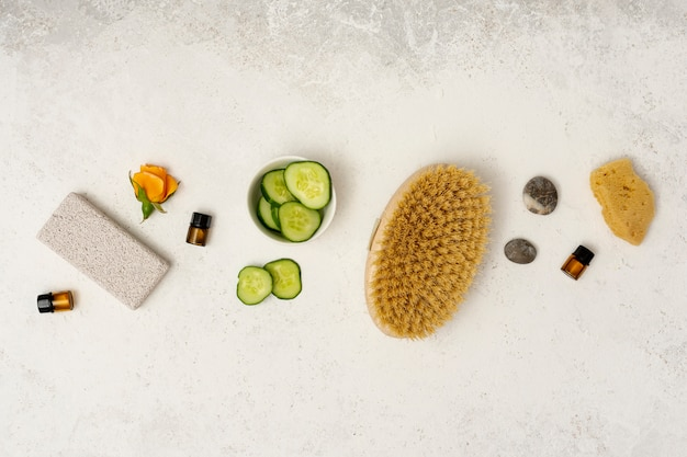 Top view spa concept with brush
