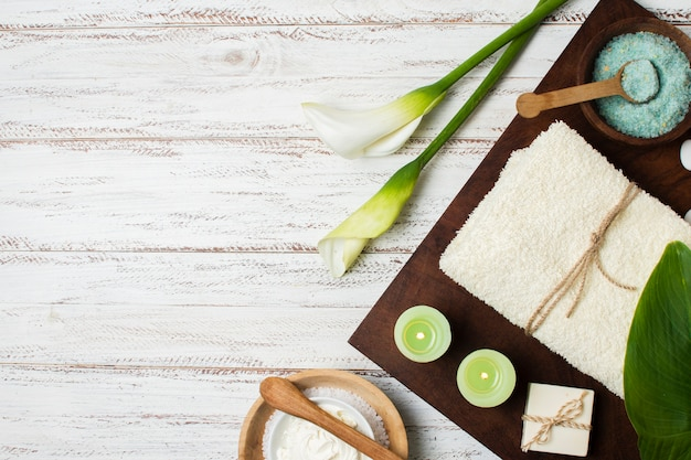 Top view spa decoration on wooden background