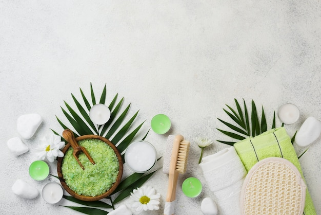 Top view spa skincare accessories with copy space