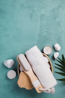 Top view spa towel with brush and soap