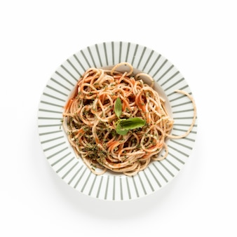 Top view spaghetti served in plate