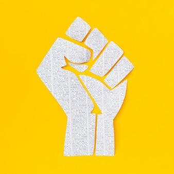 Top view sparkling fist for black lives matter