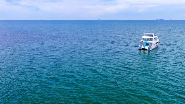 Top view of speed boat over the beautiful blue sea