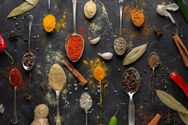 Top view spices arrangement
