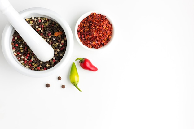 Top view spices condiments on bowls