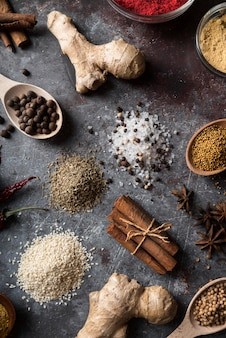 Top view spices on stucco background
