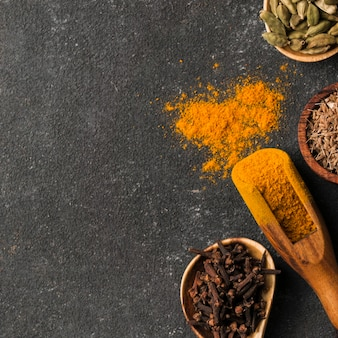 Top view spices with copy-space