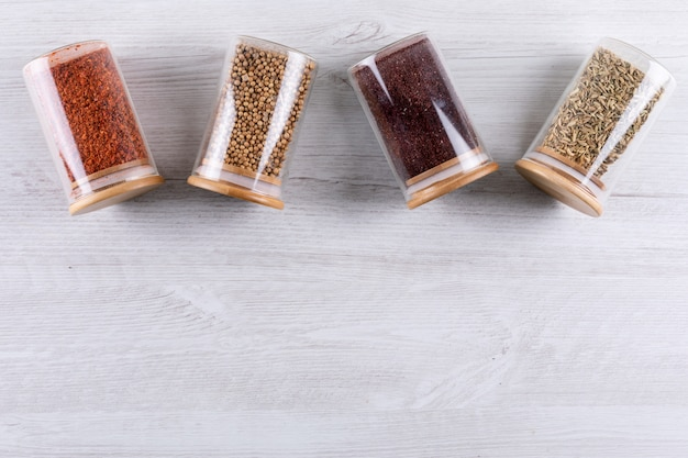 Top view spices with copy spaces on white wooden  horizontal