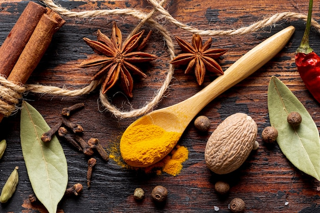 Top view of spices with star anise and turmeric
