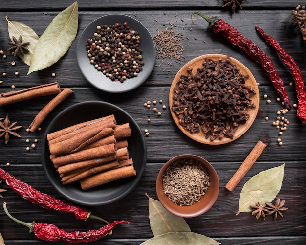 Top view spices on wooden background