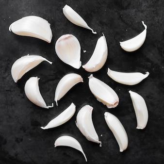 Top view spicy garlic cloves