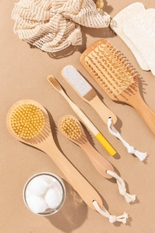 Top view sponge bath and brushes