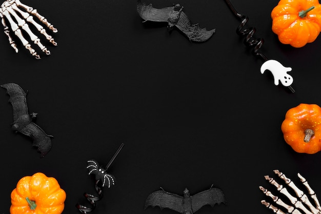 Top view spooky halloween collection concept