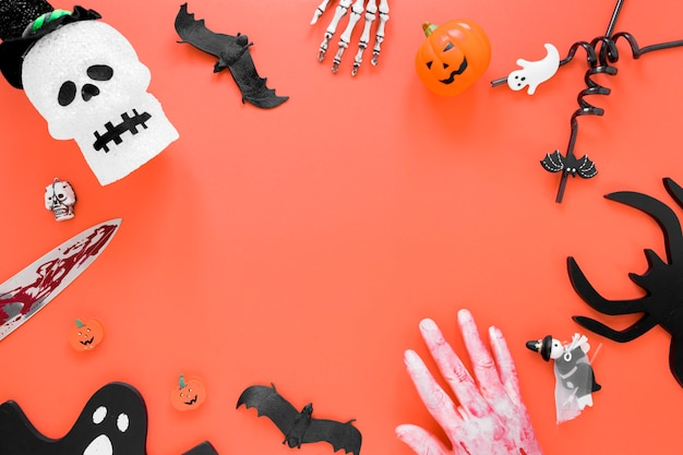 Top view spooky halloween elements collection