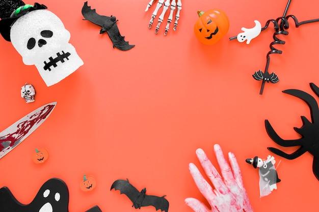 Вид сверху жуткая коллекция элементов хэллоуина
