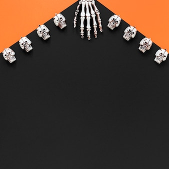 Top view spooky halloween elements with copy space