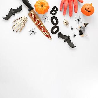 Вид сверху жуткий хэллоуин элементы с копией пространства