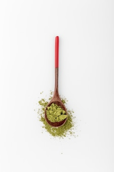 Top view spoon filled with matcha powder