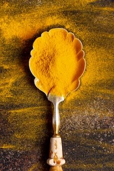 Top view of spoon with turmeric