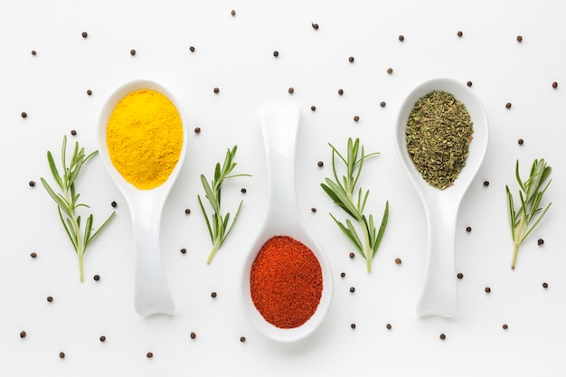 Top view spoons with powder spices